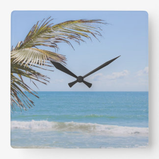 Coconut Palm and Blue Sea Beach Photography Square Wall Clock