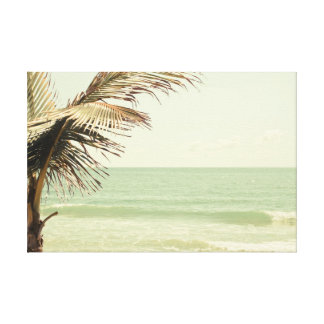 Coconut Palm and Pastel Beach Photography Canvas Print