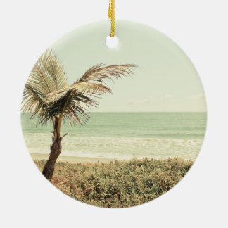 Coconut Palm and Pastel Beach Photography Ceramic Ornament