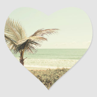 Coconut Palm and Pastel Beach Photography Heart Sticker