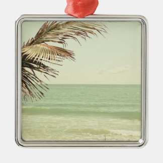 Coconut Palm and Pastel Beach Photography Metal Ornament