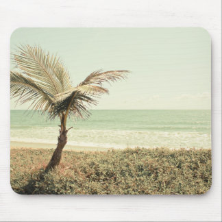 Coconut Palm and Pastel Beach Photography Mouse Pad