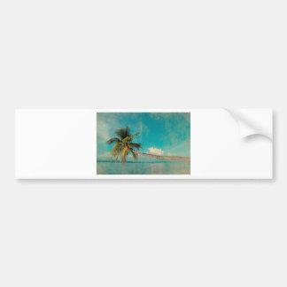 Coconut palm on tropical island beach bumper sticker