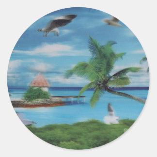 Coconut palm tree beach.jpg classic round sticker