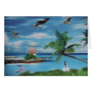 Coconut palm tree beach.jpg greeting card