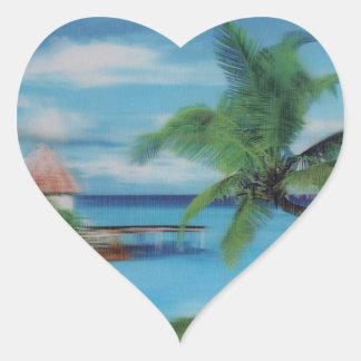 Coconut palm tree beach.jpg heart sticker