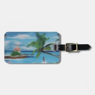 Coconut palm tree beach jpg luggage tag
