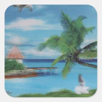 Coconut palm tree beach.jpg square sticker