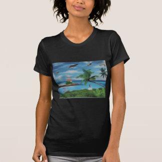 Coconut palm tree beach.jpg t-shirts
