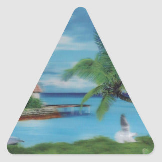 Coconut palm tree beach.jpg triangle sticker