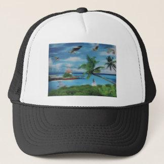 Coconut palm tree beach.jpg trucker hat