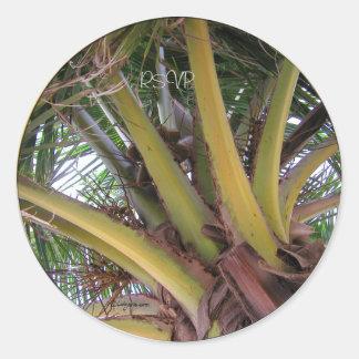 Coconut Palm Tree RSVP Wedding Seals Sticker Sticker