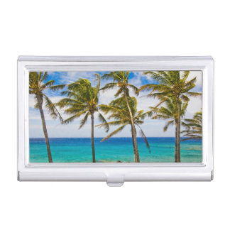 Coconut palm trees (Cocos nucifera) swaying in Business Card Holder