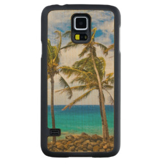 Coconut palm trees (Cocos nucifera) swaying in Carved® Maple Galaxy S5 Slim Case