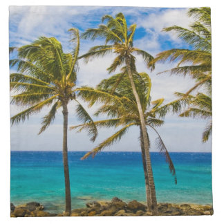 Coconut palm trees (Cocos nucifera) swaying in Cloth Napkin
