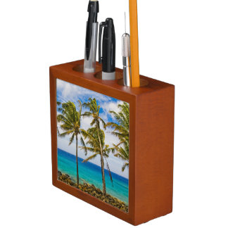Coconut palm trees (Cocos nucifera) swaying in Desk Organizer