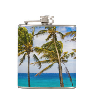 Coconut palm trees (Cocos nucifera) swaying in Hip Flask