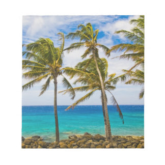 Coconut palm trees (Cocos nucifera) swaying in Memo Note Pads