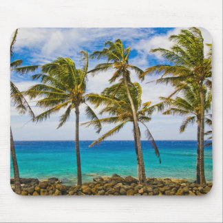 Coconut palm trees (Cocos nucifera) swaying in Mouse Pad