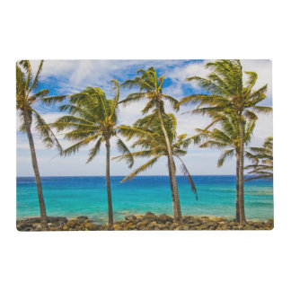 Coconut palm trees (Cocos nucifera) swaying in Placemat