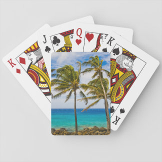 Coconut palm trees (Cocos nucifera) swaying in Playing Cards