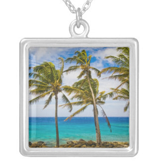 Coconut palm trees (Cocos nucifera) swaying in Silver Plated Necklace