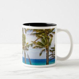 Coconut palm trees (Cocos nucifera) swaying in Two-Tone Coffee Mug