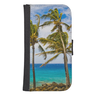 Coconut palm trees (Cocos nucifera) swaying in Wallet Phone Case For Samsung Galaxy S4