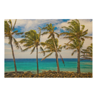 Coconut palm trees (Cocos nucifera) swaying in Wood Wall Art