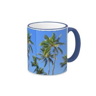 Coconut Palm Trees Ringer Coffee Mug