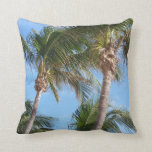 Coconut Palm Trees on the Beach Blue/Green/Brown Throw Pillow