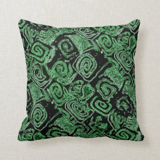 """Coconut Roll"" Green & Black Pillow"