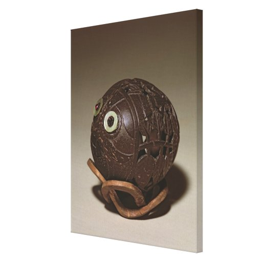 Coconut sculpted into a face, c.1895 gallery wrap canvas