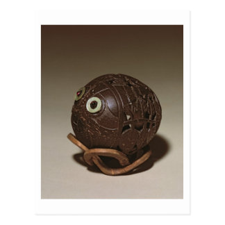 Coconut sculpted into a face, c.1895 postcard