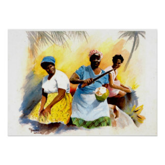 Coconut Sellers in Antigua Poster