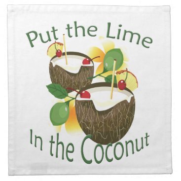 Hawaiian Themed Coconut Tiki Bar Cocktail Paper Cloth Napkin