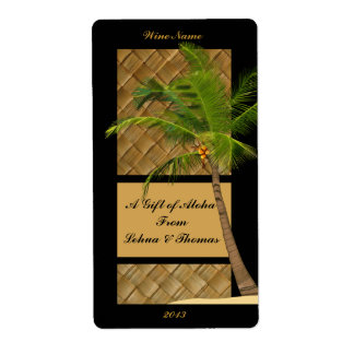 Coconut Tree Aloha Wine Craft Label Shipping Label