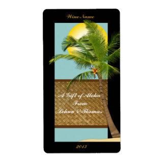 Coconut Tree Aloha Wine Craft Label 2 Shipping Label