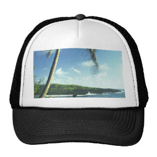 Coconut Tree Alone Among Smaller Plants Mesh Hats