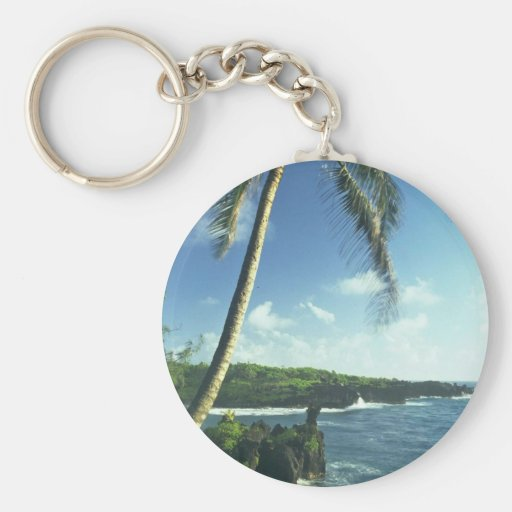 Coconut Tree Alone Among Smaller Plants Basic Round Button Keychain