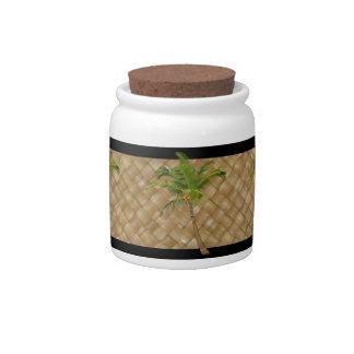 Coconut Tree Lauhala Jars Candy Jar