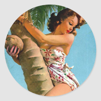 Coconut Tree Pin Up Round Stickers