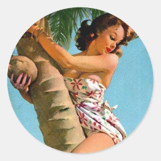 Coconut Tree Pin Up Classic Round Sticker