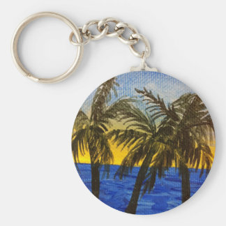 Coconut trees at sunset keychain