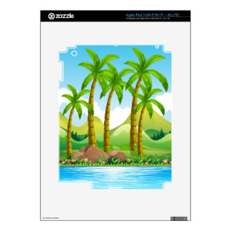 Coconut trees by the ocean decals for iPad 3