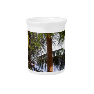 Coconut Trees Ocean Scenic View Pitcher