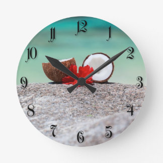 Coconut with tropical flower on exotic coast wall clocks