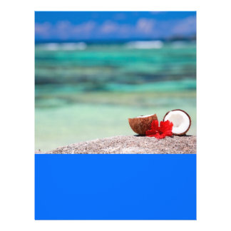 Coconut with tropical flower on exotic coast flyer