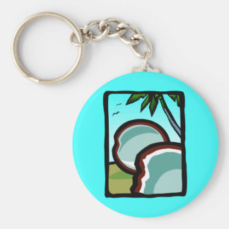 Coconuts and Palms Basic Round Button Keychain