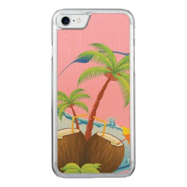Beach Themed Coconuts Carved iPhone 7 Case